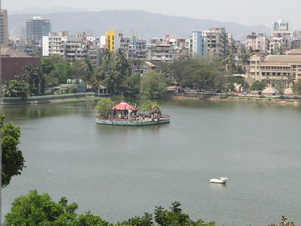lord shiva temple in the middle of talaopali aka masunda talao, thane