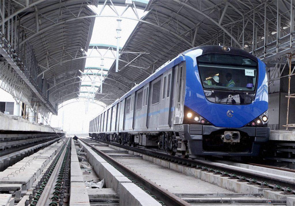 Metro train on trial run