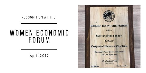 Recognition at Women Economic Forum, 2019